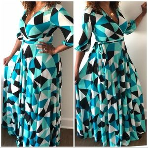New Multicolored Belted Faux Wrap Maxi Dress